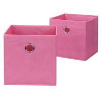 Neu Home Pink Fabric Drawer W/ Grommet - Set Of 2
