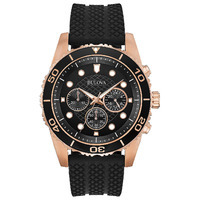Bulova Men's Chronograph Sport Black Silicone Strap Watch 43mm, A Macy's Exclusive Style
