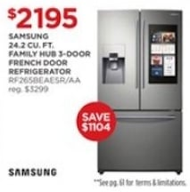 Samsung ENERGY STAR_ Smart Wi-Fi Enabled 24.2 cu. ft. Family Hub French-Door Refrigerator