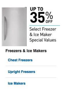 Select Freezers & Ice Makers