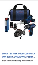 Bosch 12V Max 3-Tool Combo Kit with 3/8 In. Drill/Driver, Pocket Reciprocating Saw and LED Worklight GXL12V-310B22