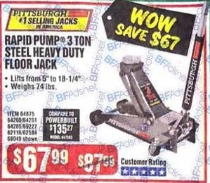 Pittsburgh Advanced 3 ton Low Profile Steel Heavy Duty Floor Jack with Rapid Pump_
