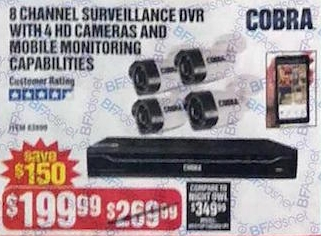 Cobra 8 Channel Surveillance DVR with 4 HD Cameras and Mobile Monitoring Capabilities