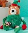 Merry & Bright Holiday Bungee Elf Bear Dog Toy - Plush, Squeaker