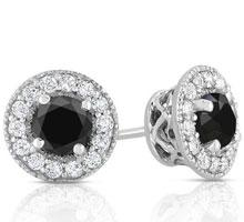 $30 off 1.5 CTTW Black Diamond with White Topaz Earrings in Sterling Silver + Free Shipping