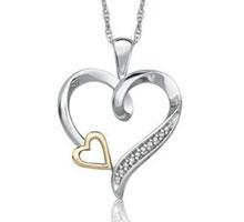 $69  Linked Hearts Diamond Two-Tone Pendant + Free Shipping